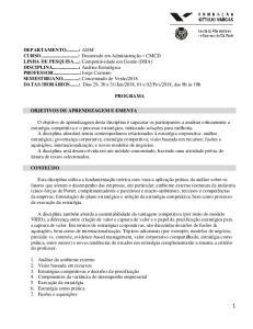 PROGRAMA OBJETIVOS DE APRENDIZAGEM E EMENTA