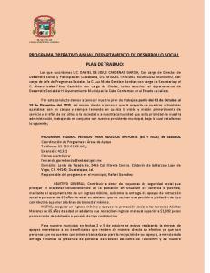 PROGRAMA OPERATIVO ANUAL, DEPARTAMENTO DE DESARROLLO SOCIAL PLAN DE TRABAJO: