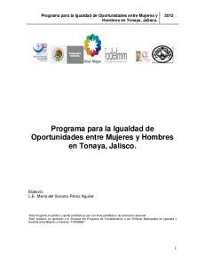 Programa para la Igualdad de Oportunidades entre Mujeres y Hombres en Tonaya, Jalisco
