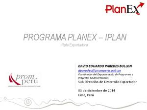 PROGRAMA PLANEX IPLAN Ruta Exportadora