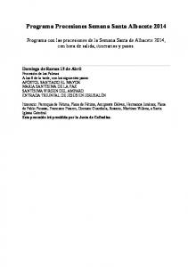 Programa Procesiones Semana Santa Albacete 2014