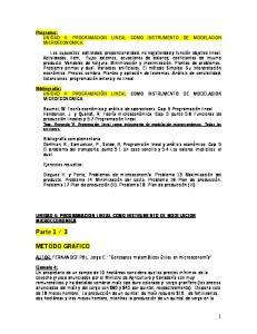 Programa: UNIDAD 4: PROGRAMACION LINEAL COMO INSTRUMENTO DE MODELACION MICROECONOMICA