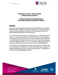 PROGRAMA VALOR, RSE + COMPETITIVIDAD CADENA DE VALOR DE HOLCIM