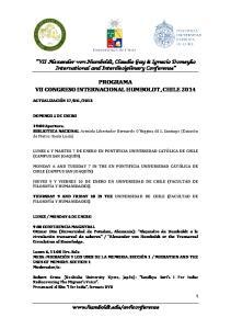 PROGRAMA VII CONGRESO INTERNACIONAL HUMBOLDT, CHILE 2014