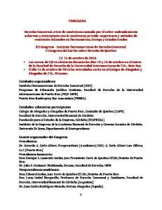 PROGRAMA. XII Congreso - Instituto Iberoamericano de Derecho Concursal II Congreso del Caribe sobre Derecho de Quiebra