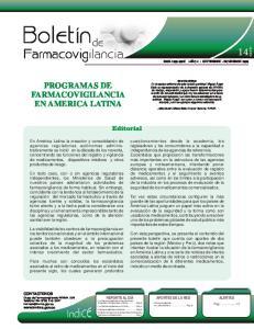 PROGRAMAS DE FARMACOVIGILANCIA EN AMERICA LATINA