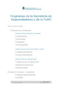 Programas de la Secretaría de Emprendedores y de la PyME