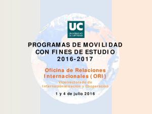 PROGRAMAS DE MOVILIDAD CON FINES DE ESTUDIO