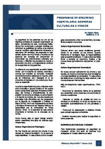 PROGRAMAS DE SEGURIDAD HOSPITALARIA: BARRERAS CULTURALES A VENCER