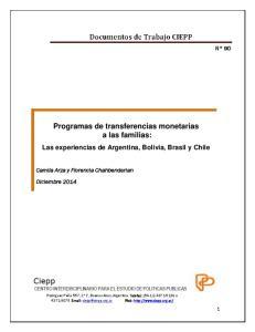 Programas de transferencias monetarias a las familias: