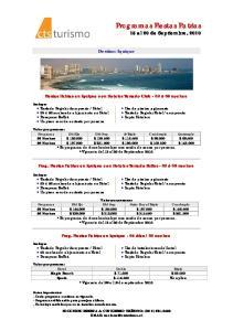 Programas Fiestas Patrias 15 al 20 de Septiembre, 2010
