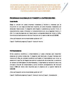 PROGRAMAS NACIONALES DE FOMENTO A EMPRENDEDORES