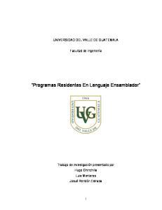 Programas Residentes En Lenguaje Ensamblador