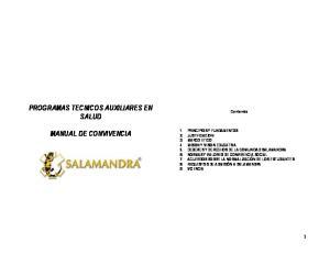 PROGRAMAS TECNICOS AUXILIARES EN SALUD MANUAL DE CONVIVENCIA. Contenido