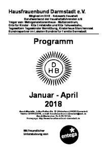 Programm. Januar - April 2018