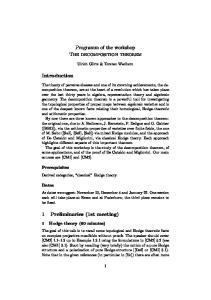 Programm of the workshop The decomposition theorem