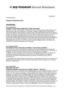 Programm September Ausstellungen Pressemitteilung