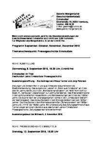 Programm September, Oktober, November, Dezember 2016