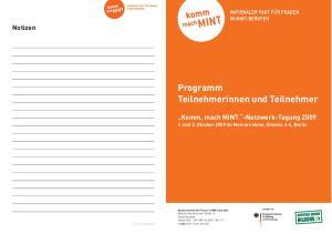 Programm Teilnehmerinnen und Teilnehmer