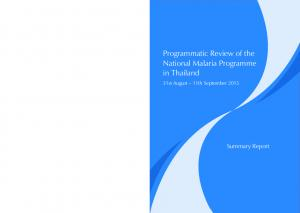 Programmatic Review of the National Malaria Programme in Thailand