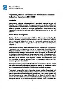 Programme Collection and Conservation of Plant Genetic Resources for Food and Agriculture in