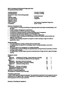 Programme Director: Programme Advisor: Post-Experience Postgraduate Programmes