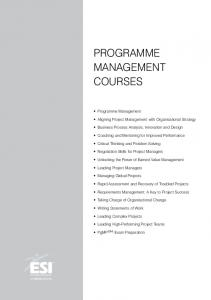 Programme Management. courses. Aligning Project Management with Organisational Strategy. Business Process Analysis, Innovation and Design
