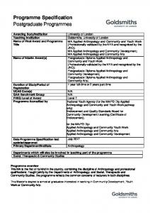 Programme Specification Postgraduate Programmes
