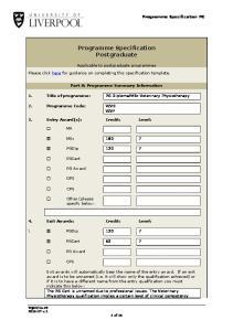 Programme Specification Postgraduate