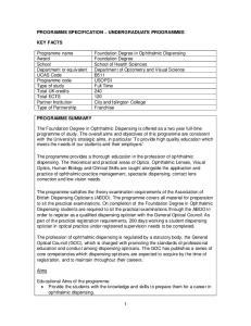 PROGRAMME SPECIFICATION UNDERGRADUATE PROGRAMMES
