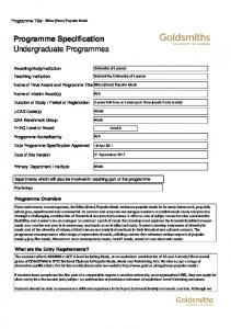 Programme Specification Undergraduate Programmes