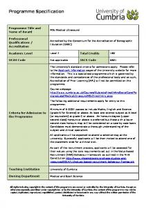 Programme Specification