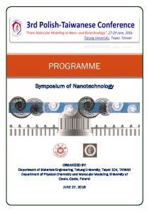 PROGRAMME. Symposium of Nanotechnology