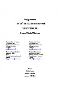 Programme The 11 th ISMD International Conference on