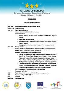 PROGRAMME. Thursday 29 September 2011