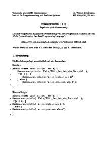 Programmieren I + II Regeln der Code-Formatierung