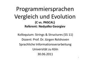 Programmiersprachen Vergleich und Evolution