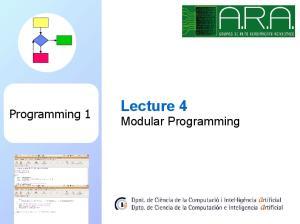 Programming 1. Lecture 4 Modular Programming
