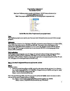 Programming Assignment 2 Due October 25, 2016