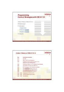 Programming Control. Strategies. with IEC A short History of IEC B Walkthrough C Languages. D Compiler