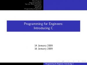 Programming for Engineers: Introducing C