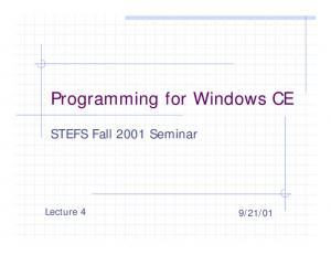 Programming for Windows CE