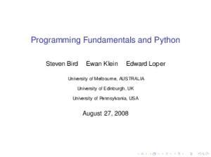Programming Fundamentals and Python