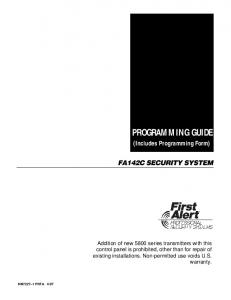 PROGRAMMING GUIDE (Includes Programming Form)