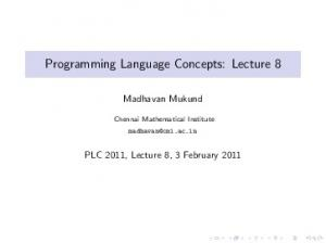 Programming Language Concepts: Lecture 8