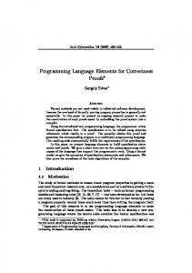 Programming Language Elements for Correctness Proofs
