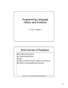 Programming Language History and Evolution