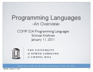 Programming Languages -An Overview-