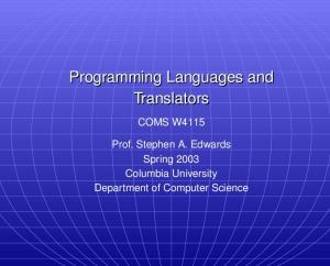 Programming Languages and Translators