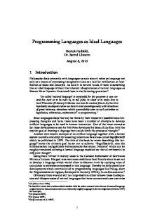 Programming Languages as Ideal Languages
